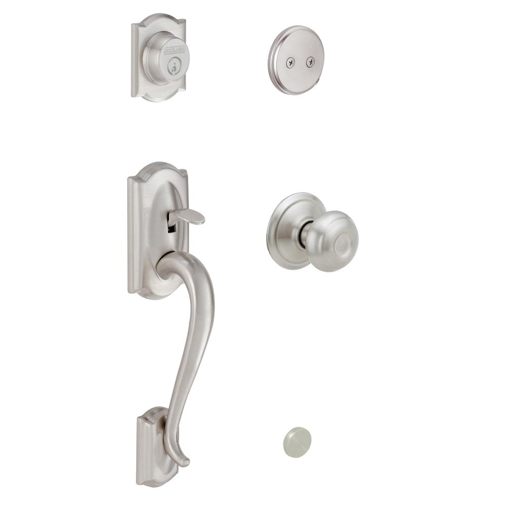 Schlage Camelot In Active Satin Nickel Handleset With