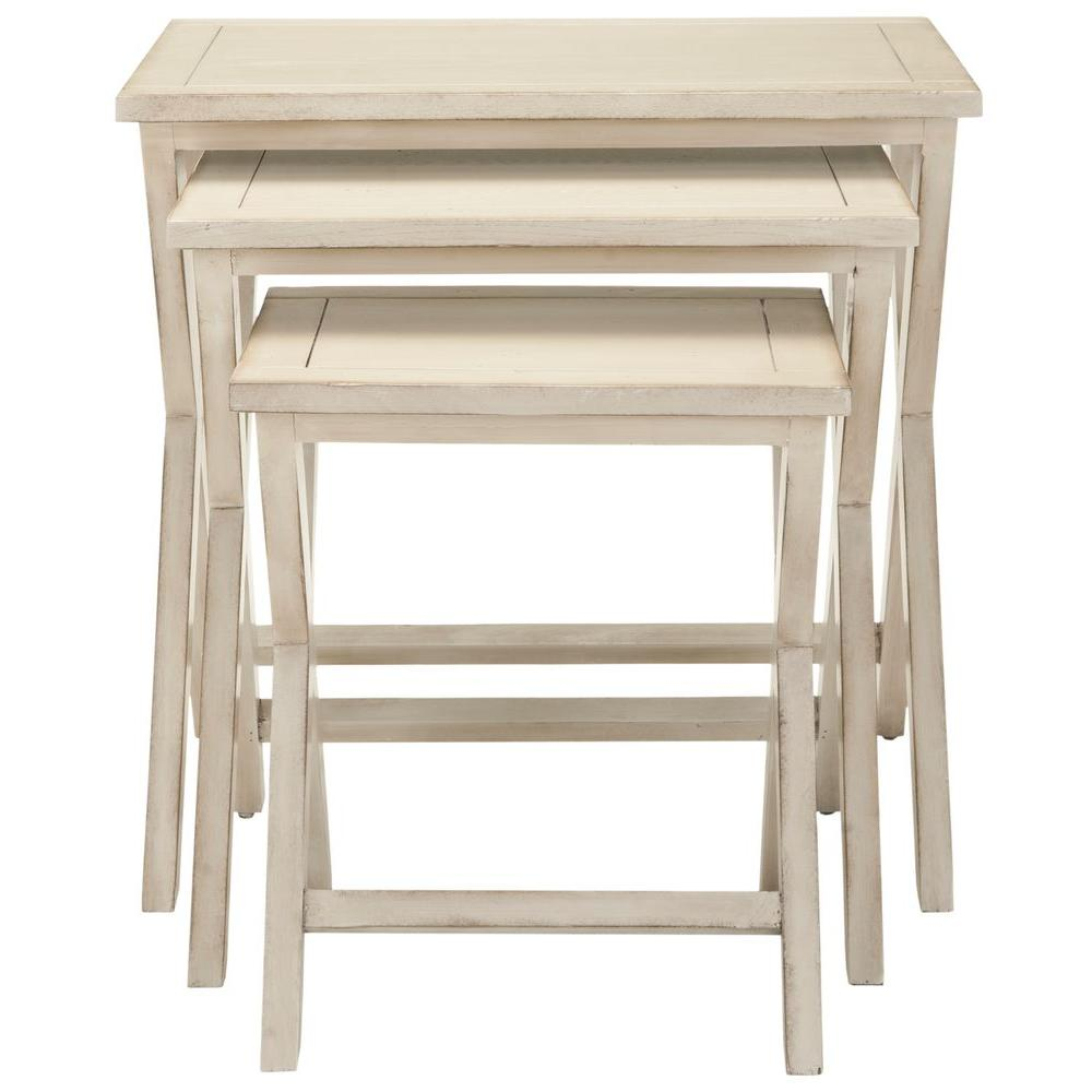 Safavieh Maryann White Washed Nesting End Table