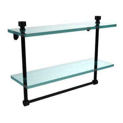 Foxtrot 16 in. L  x 12 in. H  x 5 in. W 2-Tier Clear Glass Bathroom Shelf with Towel Bar in Matte Black