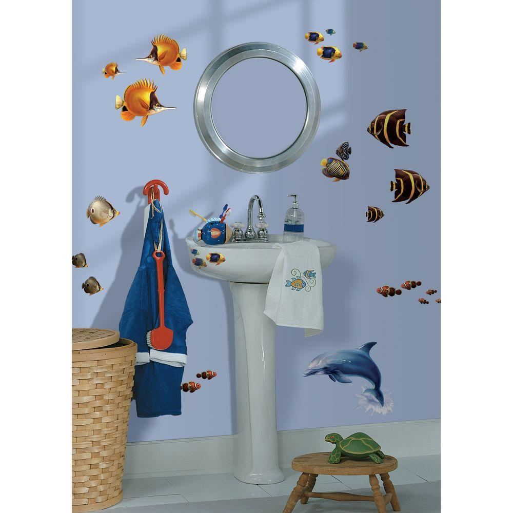 null 10 in. x 18 in. Under the Sea 24-Piece Peel and Stick Wall Decals