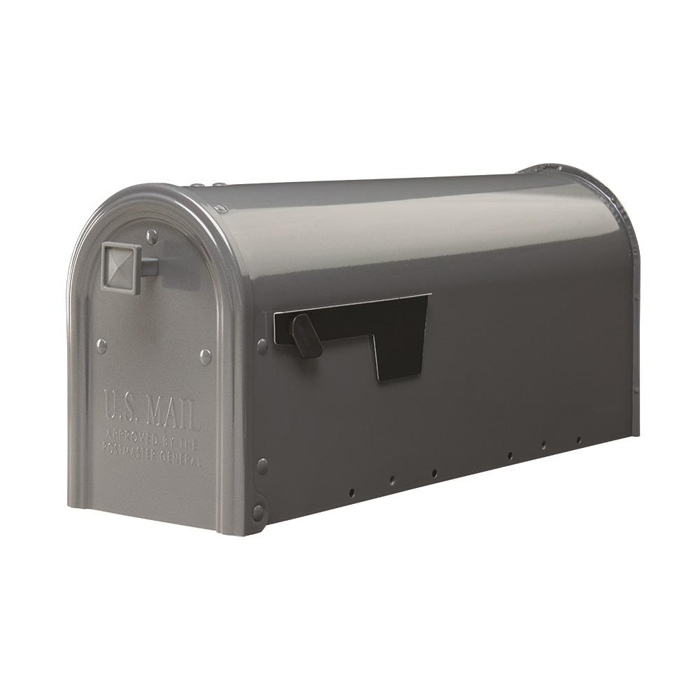 Gibraltar Mailboxes Edson Gun Metal Gray Steel Post Mount