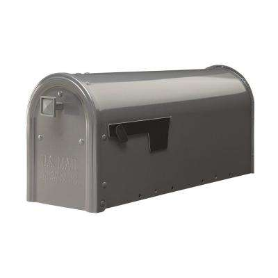 Edson Gun Metal Gray Steel Post-Mount Medium Mailbox