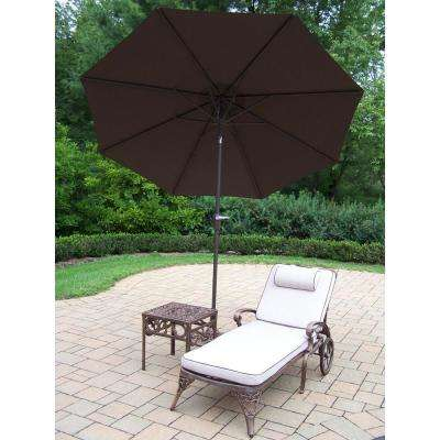 4-Piece Cast Aluminum Patio Lounge Set with 1 Chaise Lounge, Cushions, Side Table, Umbrella and Metal Stand