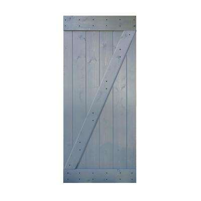 36 in. x 84 in. Z Series. Dark Grey Finished Sliding Knotty Pine Wood Interior Barn Door Slab