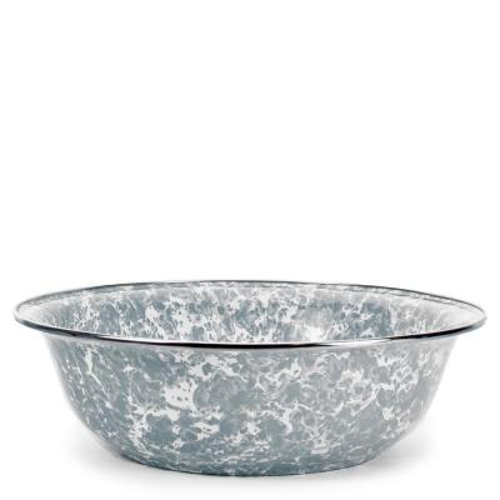 Grey Swirl 4 qt. Enamelware Round Serving Bowl