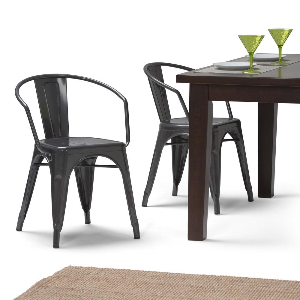 Larkin Grey Metal Dining Arm Chair Set Of 2