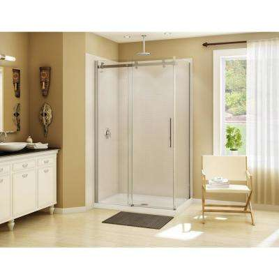 Halo 32 in. x  48 in. x  79 in. Frameless Corner Sliding Shower Enclosure in Chrome