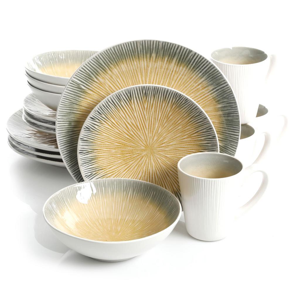 ShangriLa Court 16-Piece Yellow Dinnerware Set