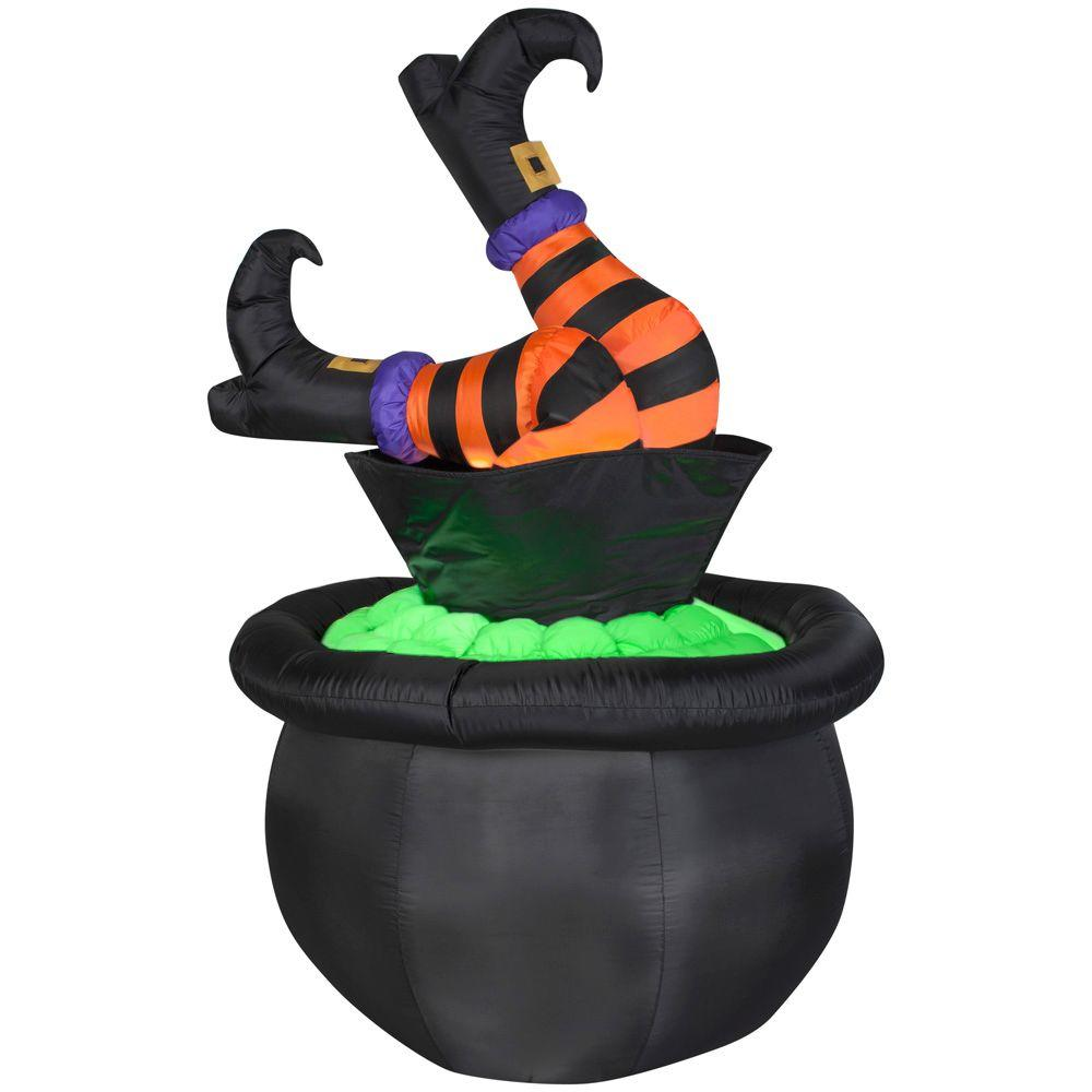 4.75 ft. Inflatable Animated Witch Legs in Cauldron