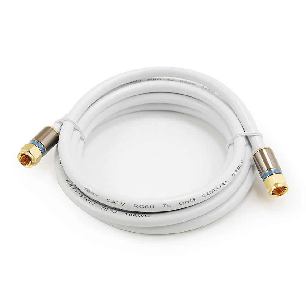 Commercial Electric 6 ft. RG-6 Coaxial Cable - White The Commercial Electric RG6 Coaxial Cable is used for CATV-community antenna television and VCRs and CCTV-closed-circuit television. It uses F-plugs to connect on both ends and features low-loss, double shielding which ensures less interference in your picture and sound.