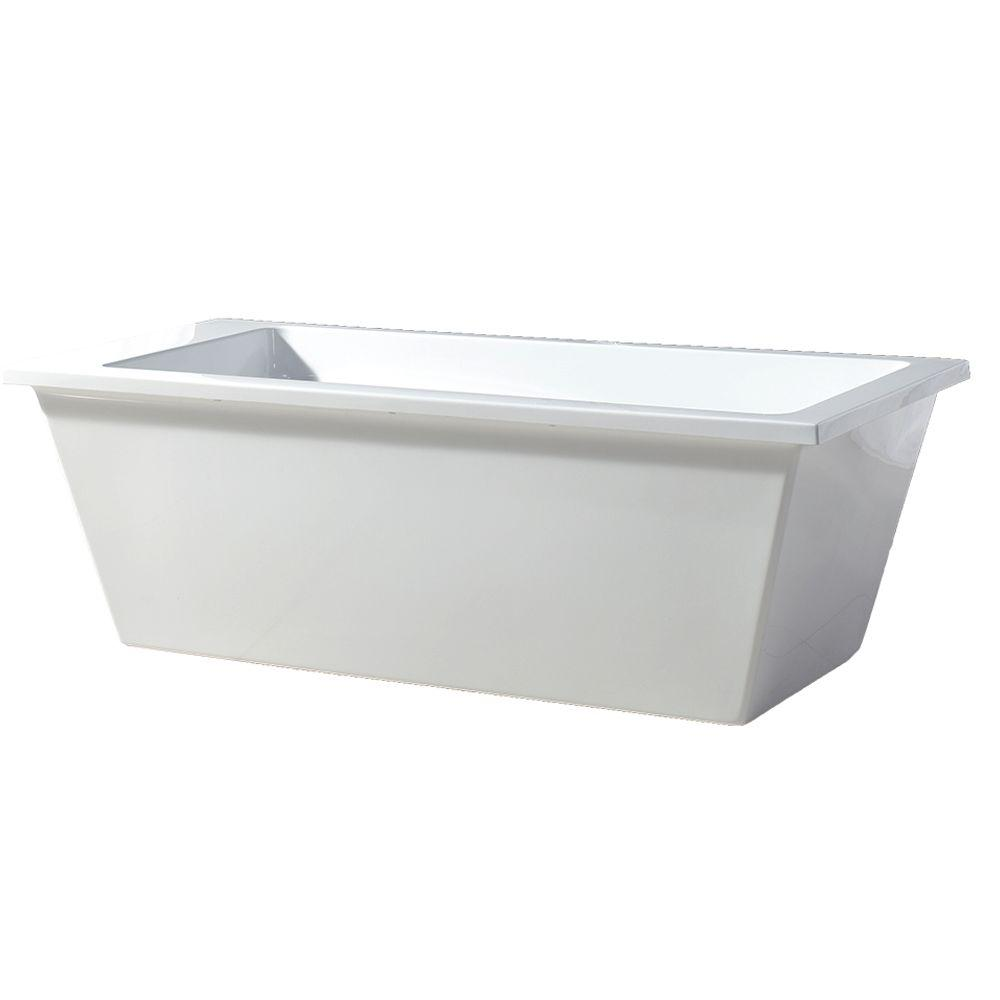 Acrylic Freestanding Flatbottom Non Whirlpool Bathtub In White