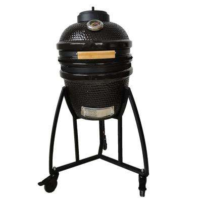 15 in. Kamado Ceramic Grill and Smoker Value Bundle with Cover and Pizza Stone in Black