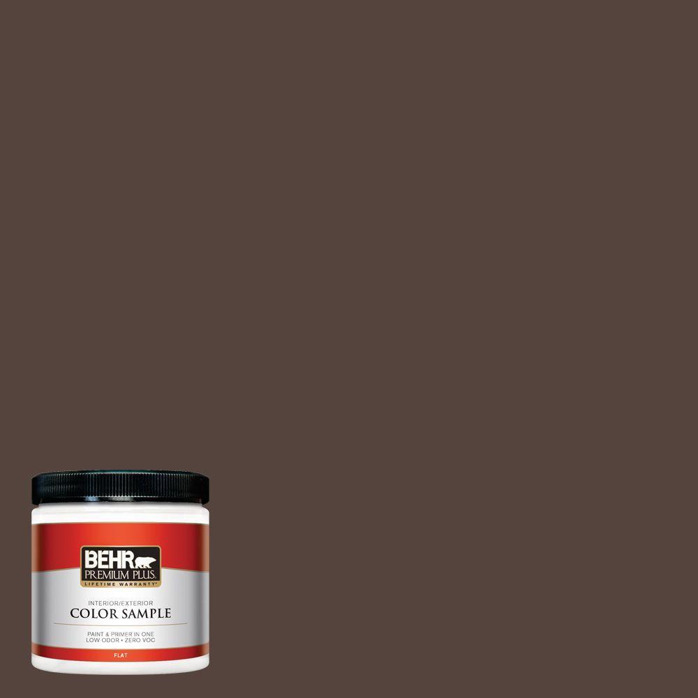 8 oz. #780B-7 Bison Brown Flat Zero VOC Interior/Exterior Paint and
