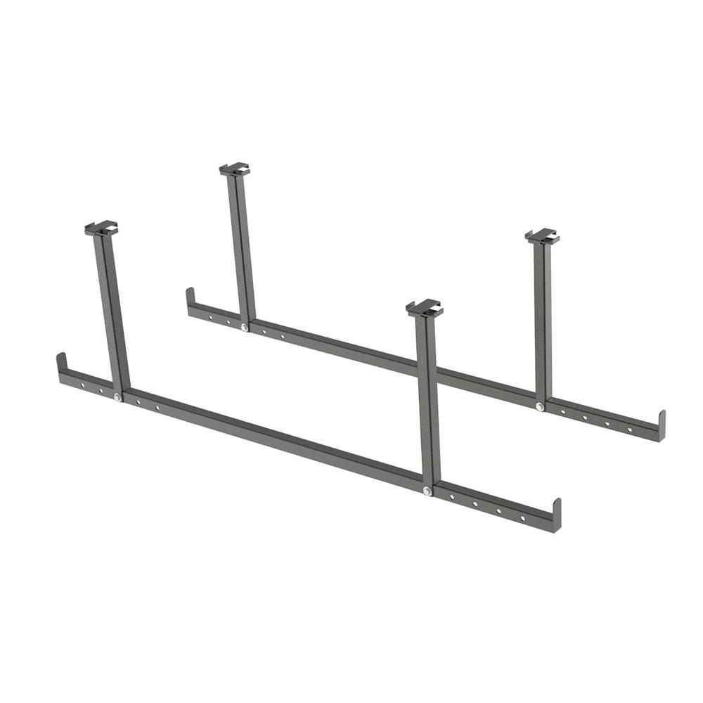 Versarac 2 In W X 15 H 47 D Ceiling Mounted Steel Piece Accessory Kit Hanging Bars Gray