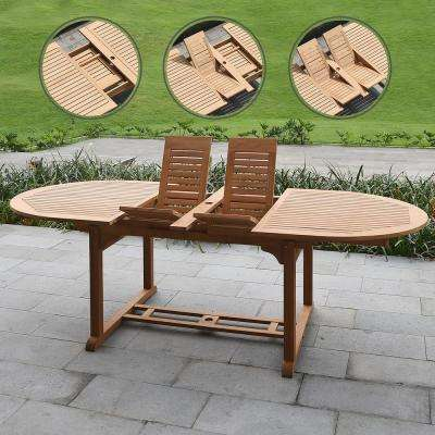 Auburn Natural Teak Outdoor Dining Table with Extension
