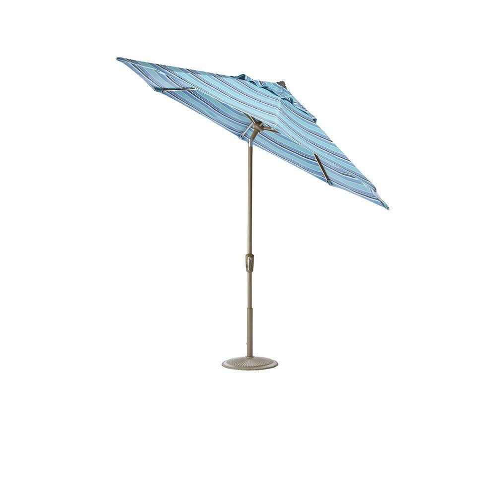 Home Decorators Collection 11 ft. Auto-Tilt Patio Umbrella in Dolce Oasis Sunbrella with Champagne Frame