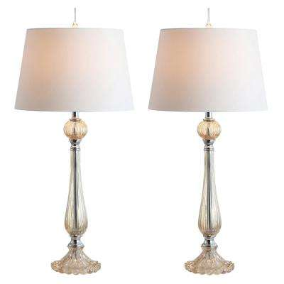 Chloe 32.5 in. Champagne Glass LED Table Lamp (Set of 2)