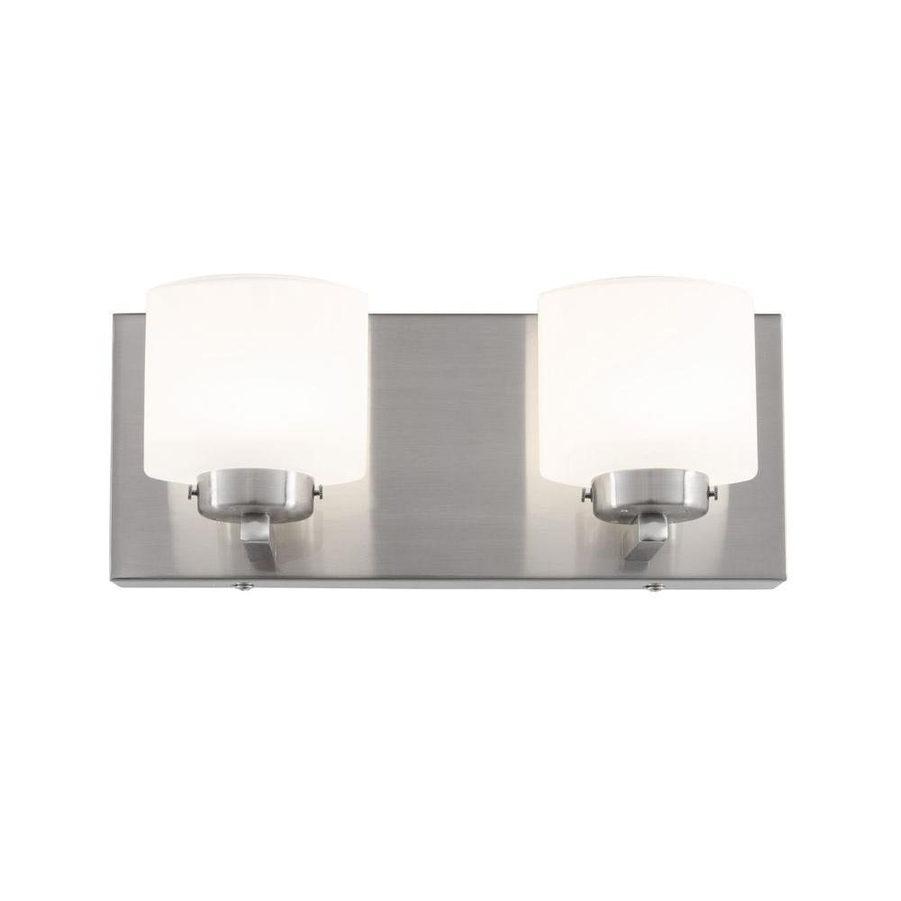 Varaluz rogue decor clean 2 light satin nickel led bath for Led bathroom vanity light