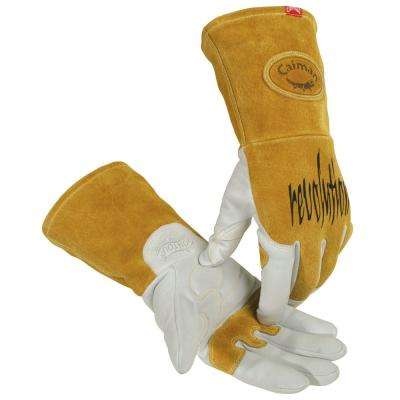 Medium Pearl Ergonomic Goat Skin TIG/Multi-Task Welding Gloves