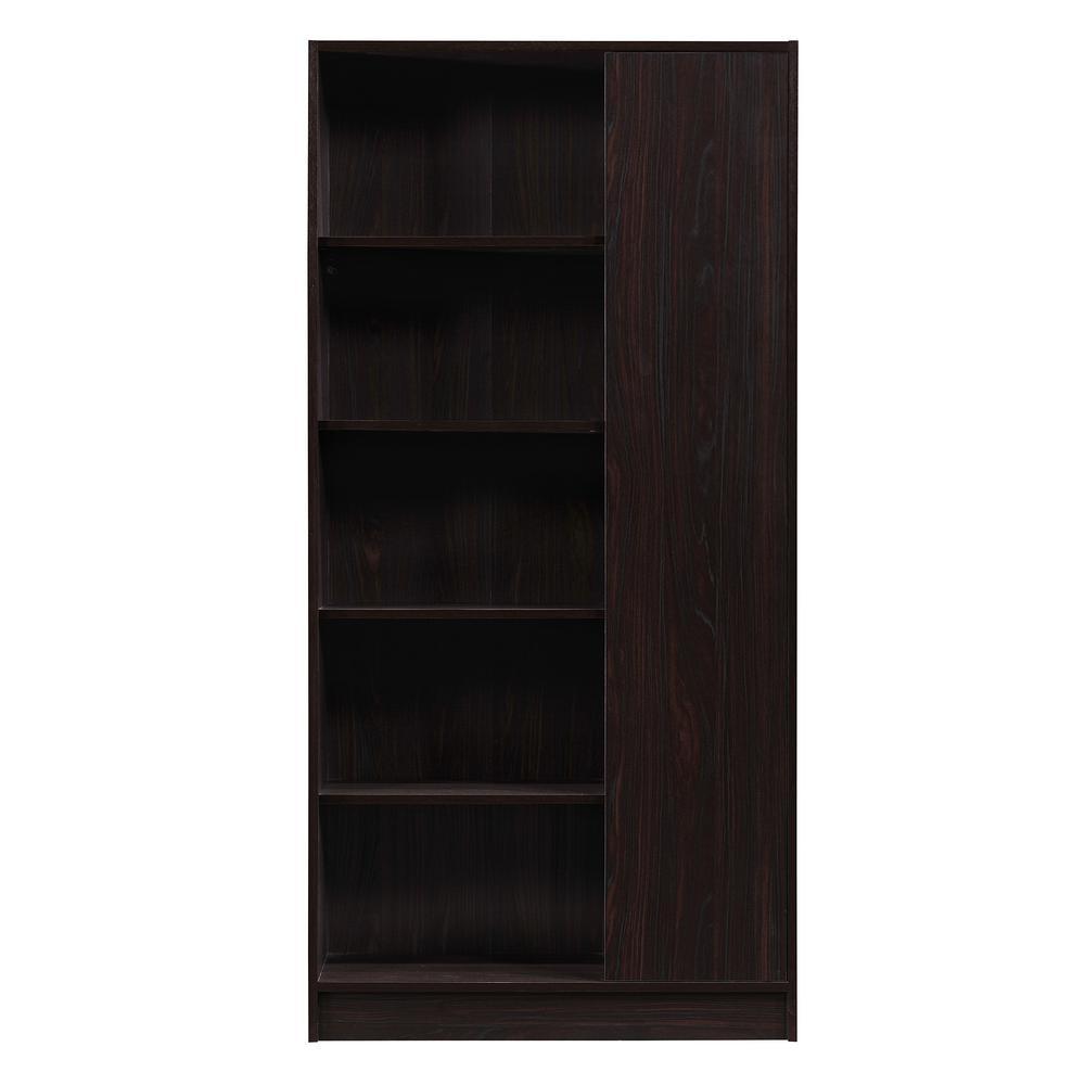 Walnut Brown 5-Tier Bookcase with Door