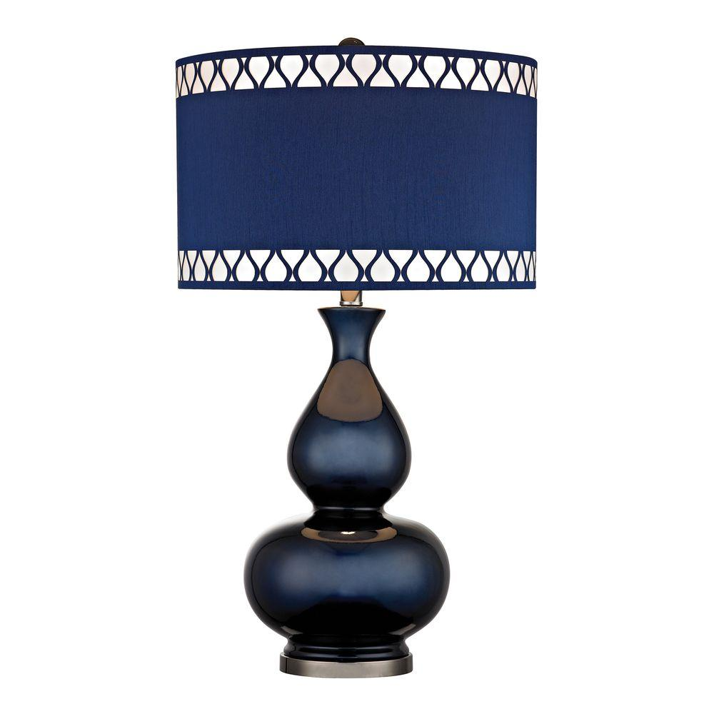 An Lighting Heathfield 28 In Navy Blue Gl Table Lamp