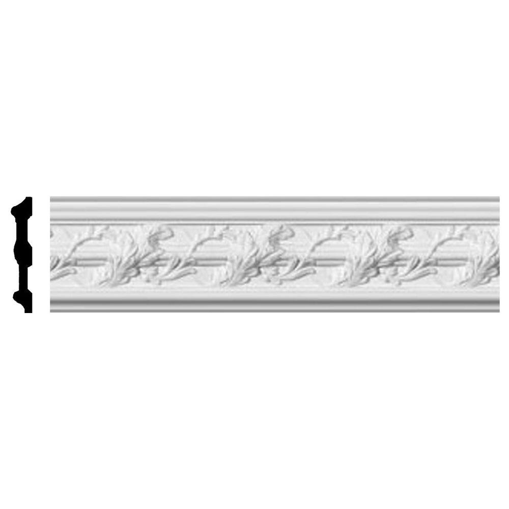 Ekena Millwork 1 in. x 4-3/8 in. x 96 in. Polyurethane Southhampton Acanthus Leaf Chair Rail Moulding