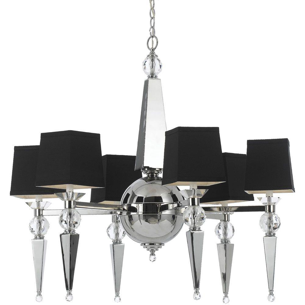 Af lighting clark 6 light chrome chandelier with crystal accents af lighting clark 6 light chrome chandelier with crystal accents and black shade mozeypictures Image collections