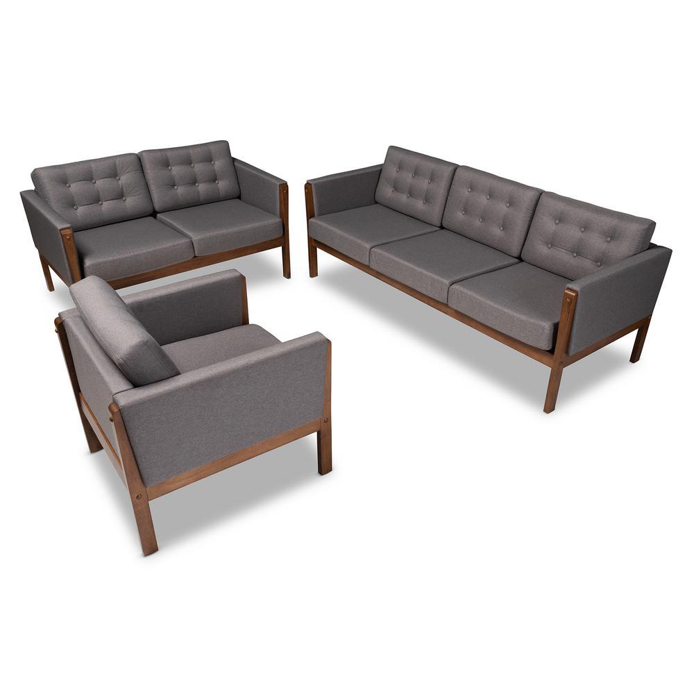 Lenne 3-Piece Gray and Walnut Living Room Set