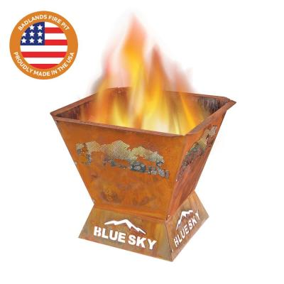 Badlands 29.5 in. x 26 in. Square Steel Wood Fire Pit - Northern Woods