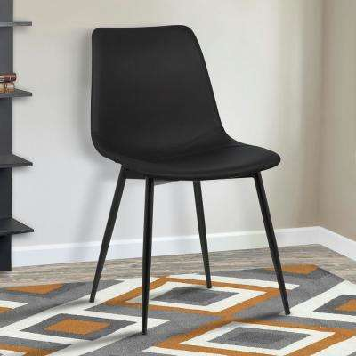 Monte 32 in. Black Faux Leather and Black Powder Coated Finish Contemporary Dining Chair