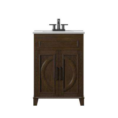 Genevieve 24 in. D x 18 in. W x 34 in. H Bath Vanity in Chocolate Brown with Vanity Top in White and White Basin