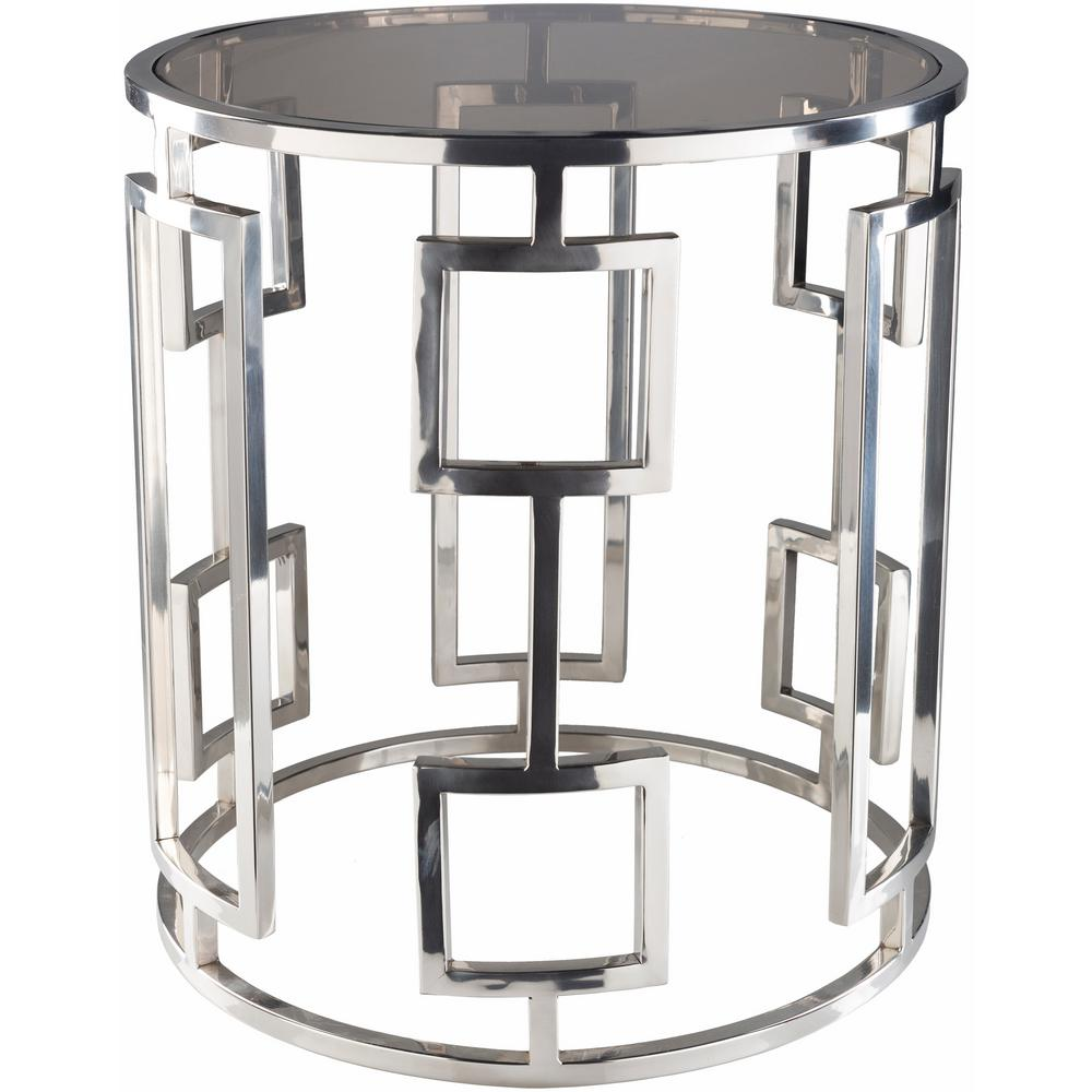 Charming Chrome Silver Side Table