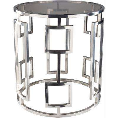 Rhiv 20 in. Chrome Silver Side Table