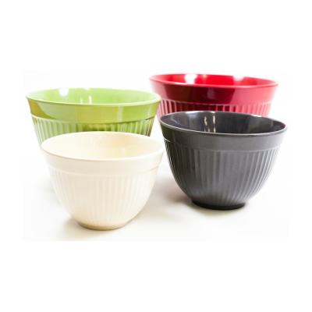 Molded Bamboo 4-Piece Ribbed Mixing Bowl Set