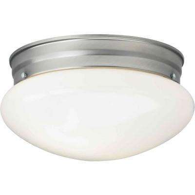 1-Light Brushed Nickel Flush Mount with Opal Glass