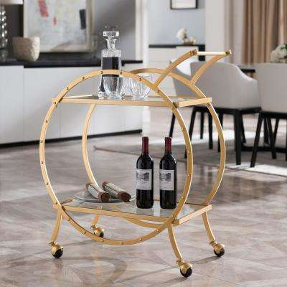 Lewisa Art Deco Round Bar Cart