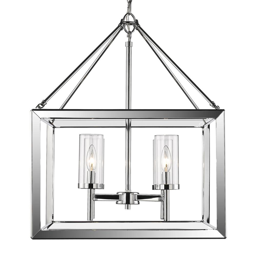 Smyth 4-Light Chrome Chandelier with Clear Glass Shade