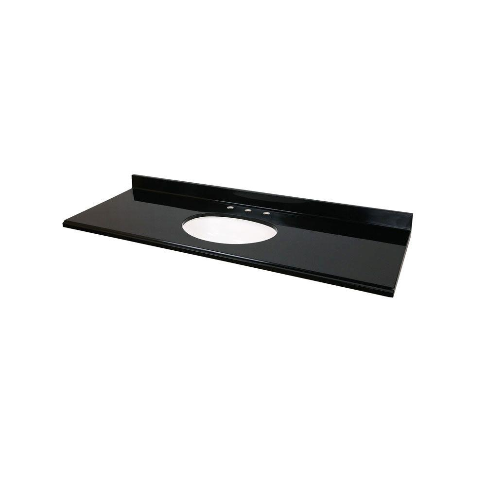 St. Paul 61 in. Colorpoint Technology Vanity Top in Black with White Undermount Bowl-DISCONTINUED