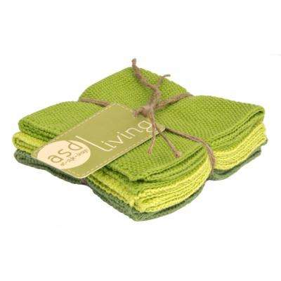 Knitted Set of 6 Kitchen Dishcloths, Leaf Green