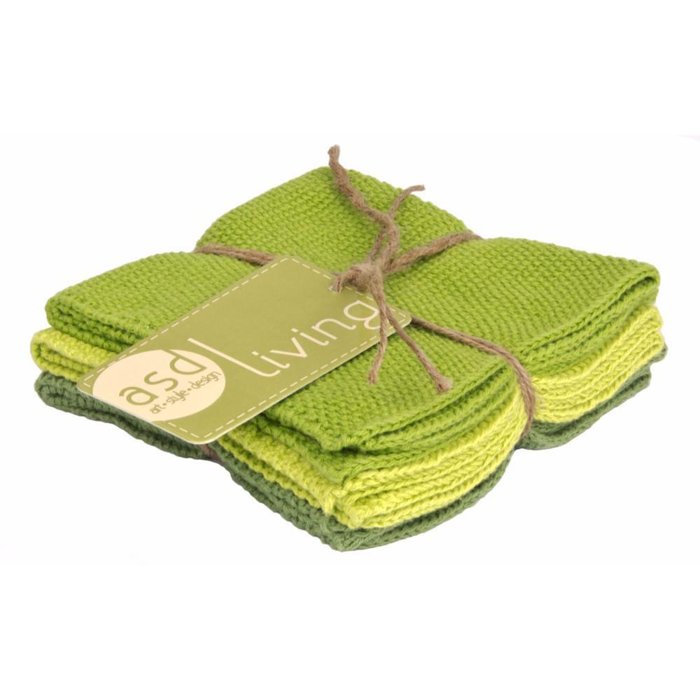 Knitted Set of 6 Kitchen Dishcloths, Leaf Green