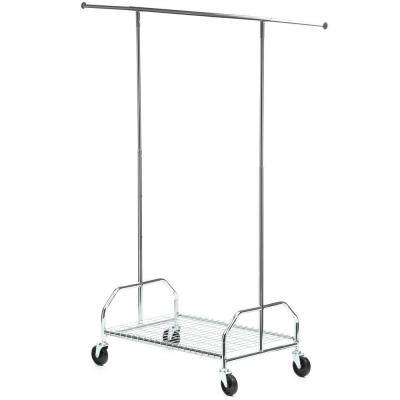 Chrome Steel Clothes Rack with Wheels (59 in. W x 66 in. H)