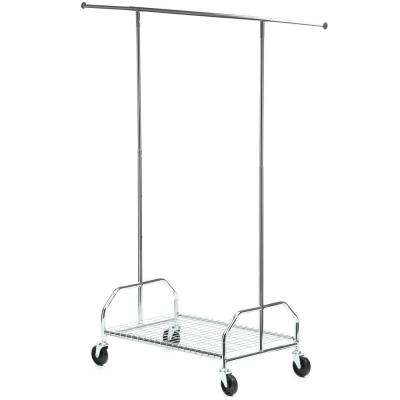 Bottom Shelf Steel Rolling Garment Rack in Chrome