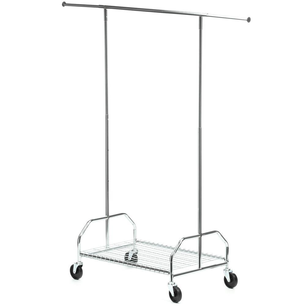 Honey Can Do Bottom Shelf Steel Rolling Garment Rack In Chrome