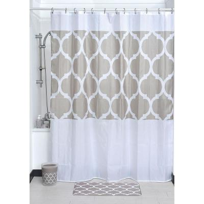 79 in. Escal Printed Fabric Beige Shower Curtain