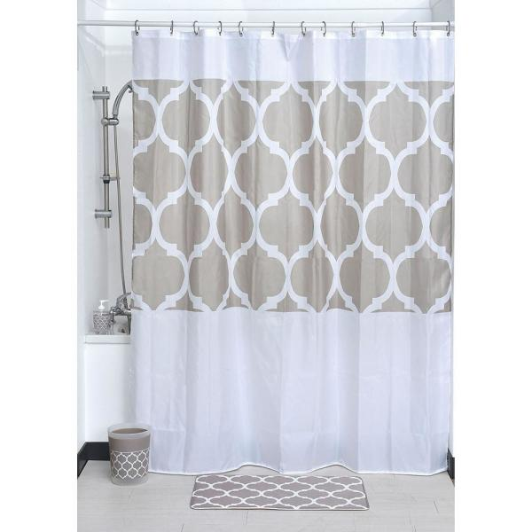 79 in. Escal Printed Fabric Beige Shower Curtain 1200489