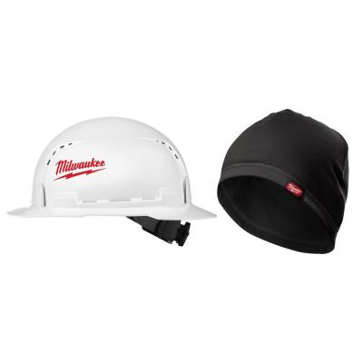 BOLT White Type 1 Class C Full Brim Vented Hard Hat with Workskin Mid-Weight Hard Hat Liner