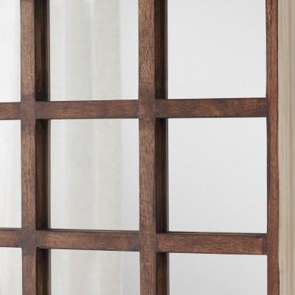 Medium Square Multi-Colored Windowpane Antiqued Classic Accent Mirror (28 in. H x 28 in. W)