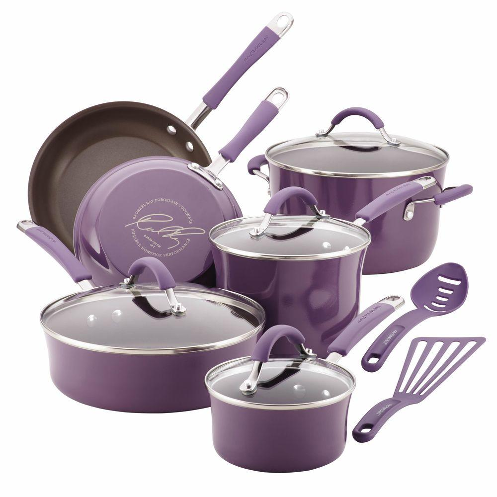RachaelRay Rachael Ray Cucina 12-Piece Lavender Cookware Set with Lids, Purple