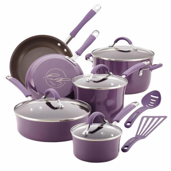 Rachael Ray Cucina 12-Piece Lavender Cookware Set with Lids