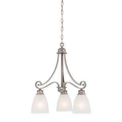Haven 3-Light Satin Pewter Chandelier With Etched Glass Shades